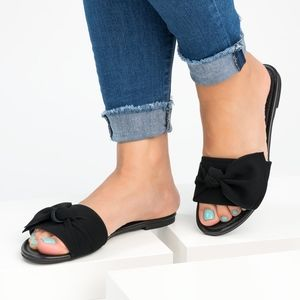 Bow Black  Slide Sandals
